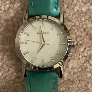 DKNY Watch Pearlized Face Crystals Teal